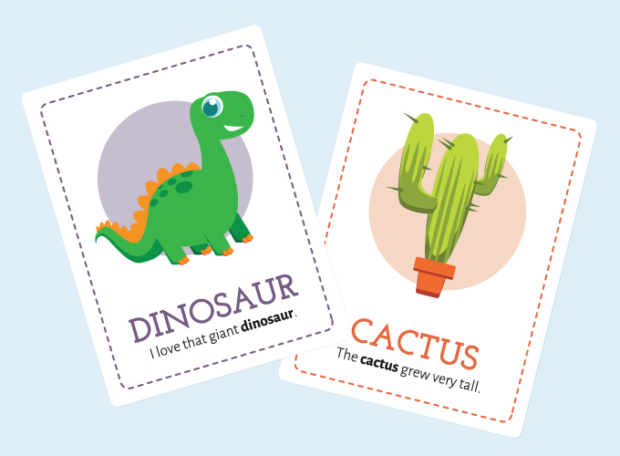 Seal Flash Cards: Dinosaur and Cactus