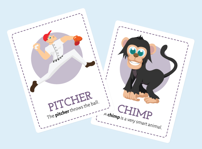 Ch-sound Flashcards: Pitcher and Chimp