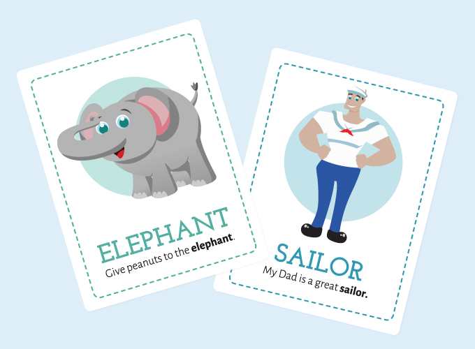 Lion Flash Cards: Elephant and Sailor