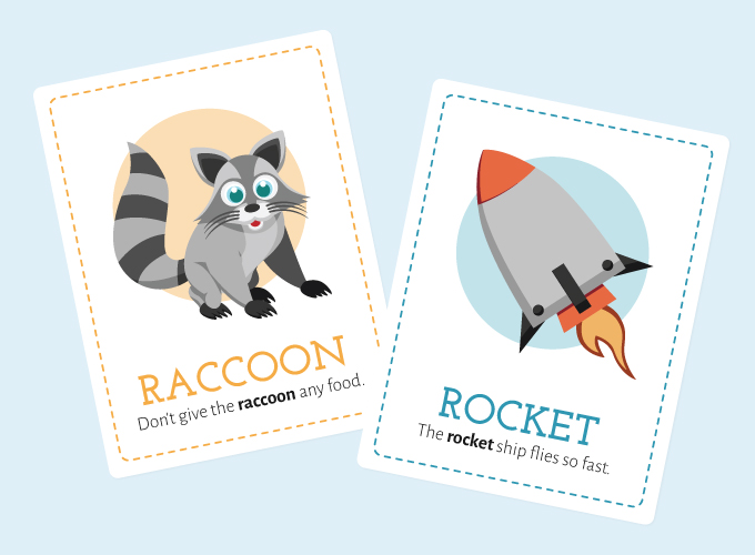 R Flash Cards: Raccoon and Rocket
