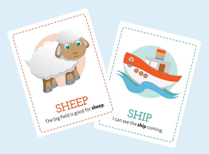 SH Flash Cards: Sheep and Ship