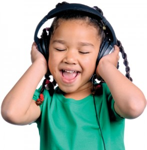 Child Singing with Headphones