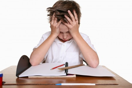 child developing problem by using homework