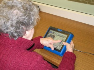 Woman with Aphasia Using AAC Device