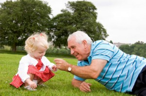 Grandfather Playing with Child