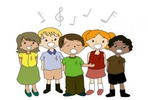 Cartoon of Children Singing
