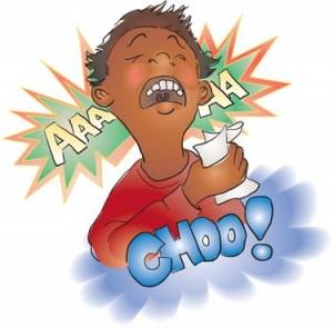 Cartoon of Child Sneezing
