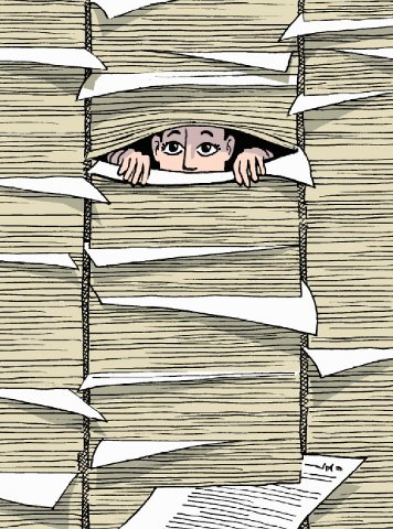 Buried with Paperwork Cartoon