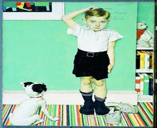 Child Measuring Height - Norman Rockwell