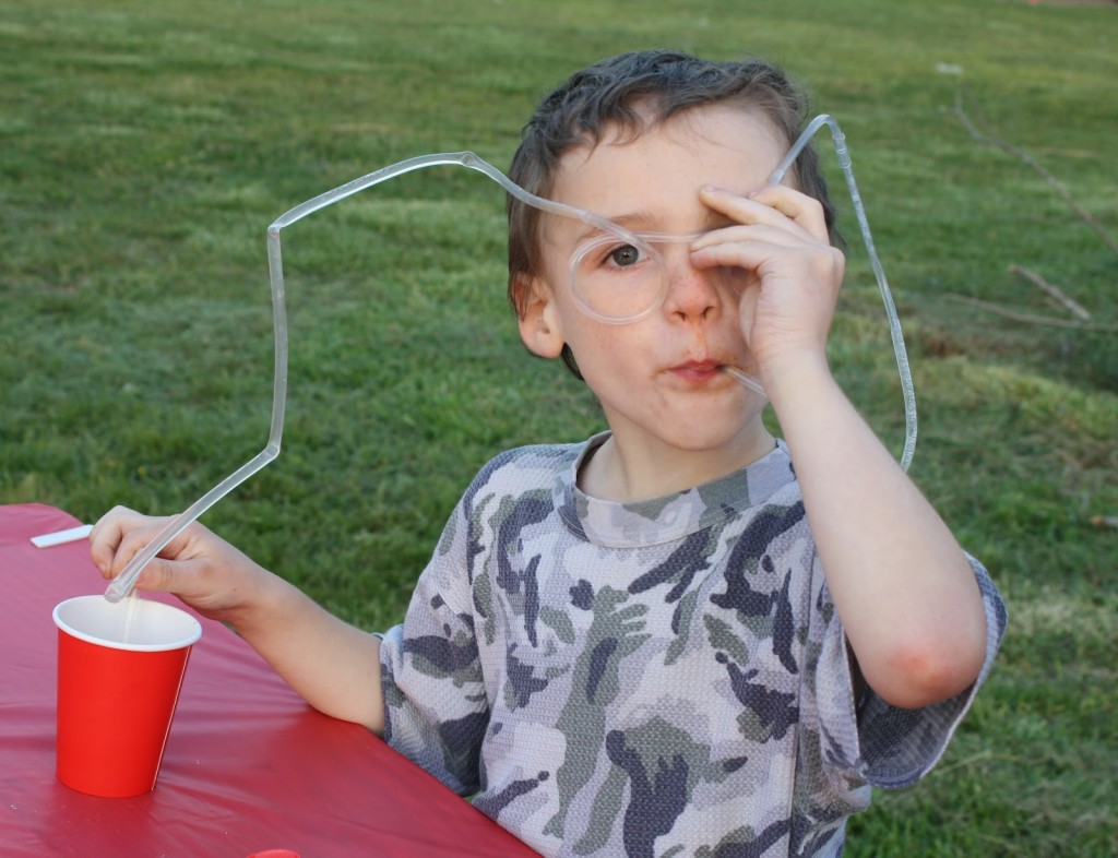 Child Drinking with Crazy Straw