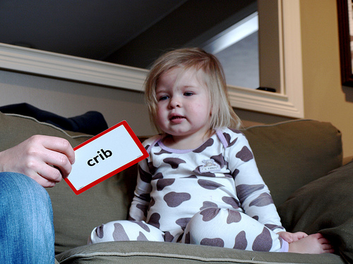 Toddler Using Flashcards for Kids