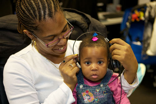 Child Wearing Headset for Speech Therapy