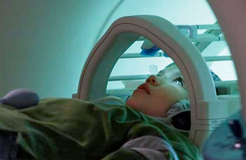 Child participating in MRI for Speech Research