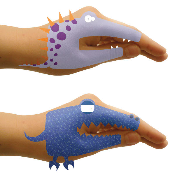 Dino Hand tattoos to stimulate language