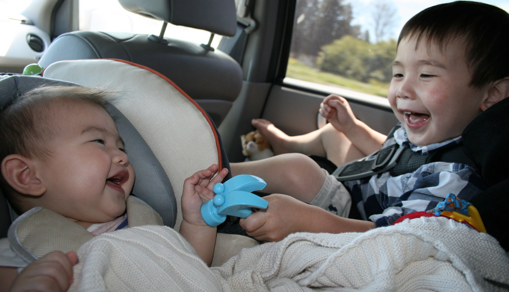 brothers play together in the car
