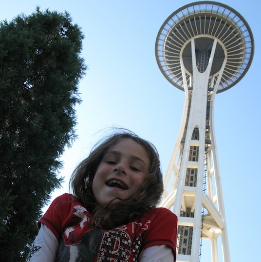 child at the space needle
