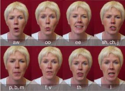 shapes of speech sounds for lip reading
