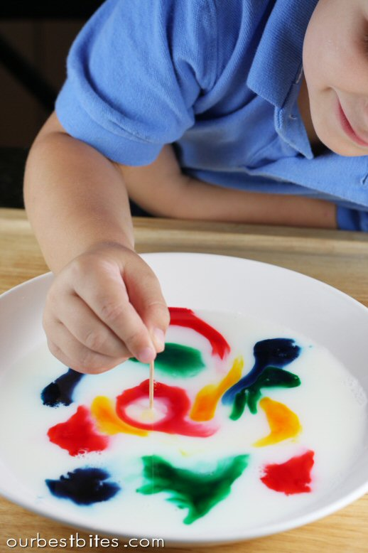 mixing colors in milk