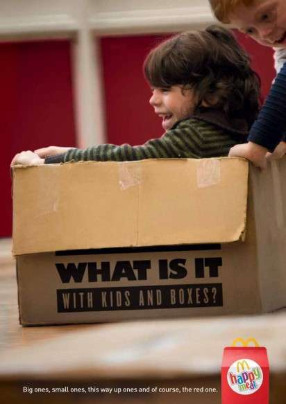 child pretend play in a box from McDonalds ad