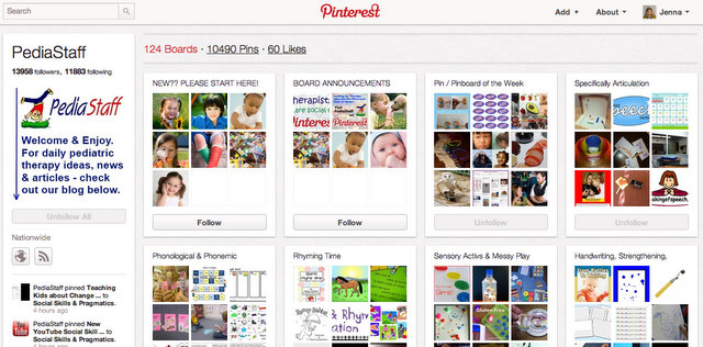 Pinterest boards on speech therapy