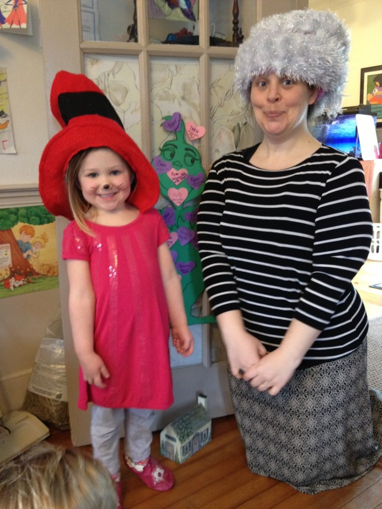 adult and child wear dress up hats