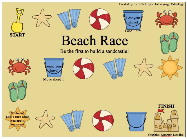 beach race language game