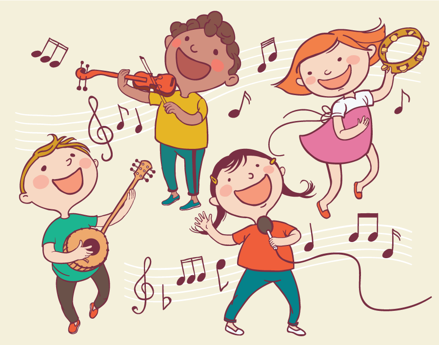 children playing illustration musical instruments therapy clipart speech songs books child cartoon shutterstock vector drawing separate singing speechbuddy objects clip