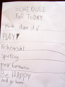 Kid's to do list