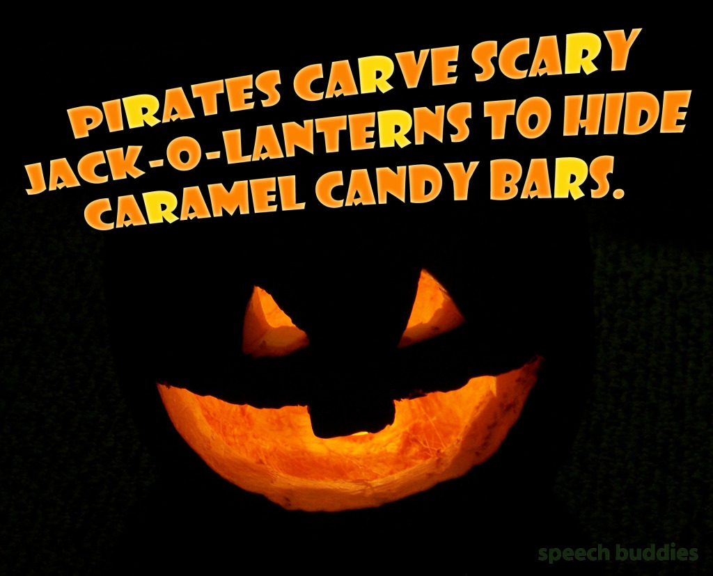 Halloween Language Activities: pirates carve scary jack-o-lanterns to hide caramel candy bars