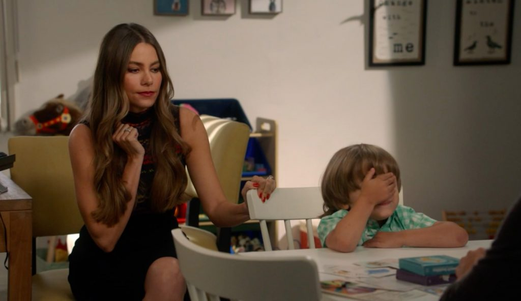 Gloria (Sofia Vergara) and Joe (Jeremy Maguire) practice with Speech Buddies!